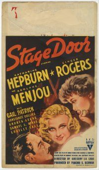 6d034 STAGE DOOR mini WC '37 art of Katharine Hepburn, Ginger Rogers & Adolphe Menjou, classic!