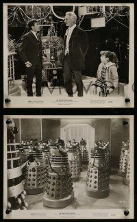 6m895 DR. WHO & THE DALEKS 4 8x10 stills '66 Barrie Ingham, humans fighting the mutant-cyborgs!