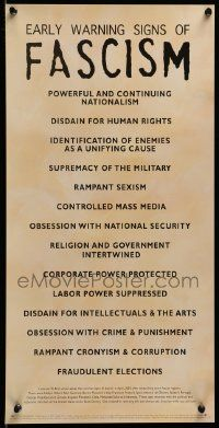 Early Signs Of Fascism >> 6r892 Early Warning Signs Of Fascism 12x24 Commercial Poster 05