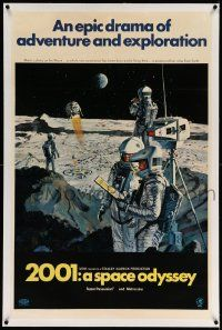 6s002 2001: A SPACE ODYSSEY linen style B 1sh '68 Stanley Kubrick, McCall art of astronauts on moon!