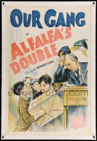 6s003 ALFALFA'S DOUBLE linen 1sh '40 stone litho of Alfalfa & his rich kid lookalike, Our Gang!