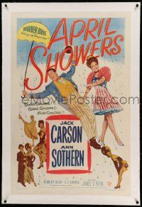 6s006 APRIL SHOWERS linen 1sh '48 full-length Jack Carson & Ann Sothern in rain of musical notes!