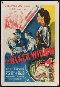 6s021 BLACK WIDOW linen 1sh '47 Republic serial, Carol Forman, cool artwork of spider in web!