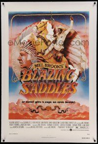 6s023 BLAZING SADDLES linen 1sh '74 classic Mel Brooks western, art of Cleavon Little by Alvin!