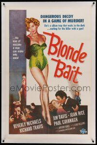 6s024 BLONDE BAIT linen 1sh '56 full-length sexy smoking bad girl Beverly Michaels is a silken trap!