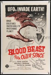 6s025 BLOOD BEAST FROM OUTER SPACE linen 1sh '66 UFOs invade Earth, creatures snatch sexy girls!