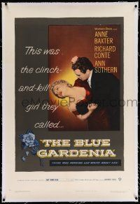 6s027 BLUE GARDENIA linen 1sh '53 Fritz Lang, Anne Baxter, there was nothing lily-white about her!