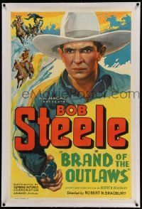 6s030 BRAND OF THE OUTLAWS linen 1sh '36 wonderful full art of cowboy Bob Steele with smoking gun!