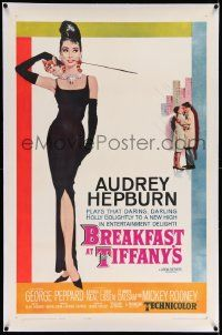 6s031 BREAKFAST AT TIFFANY'S linen 1sh '62 classic McGinnis art of sexy elegant Audrey Hepburn!