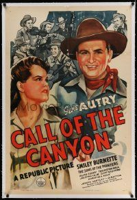 6s035 CALL OF THE CANYON linen 1sh '42 art of Gene Autry, Ruth Terry & The Sons of the Pioneers!