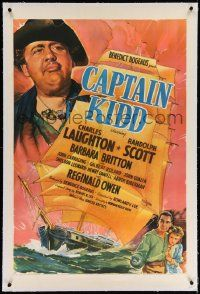 6s037 CAPTAIN KIDD linen 1sh '45 cool artwork of pirate Charles Laughton looming over his ship!