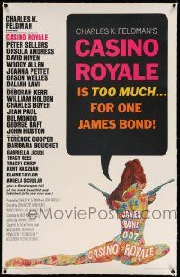6s039 CASINO ROYALE linen 26x39 1sh '67 James Bond spy spoof, psychedelic art by Robert McGinnis!