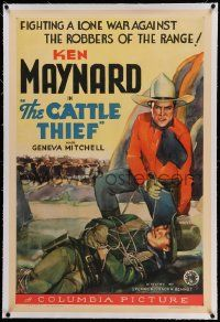 6s041 CATTLE THIEF linen 1sh '36 Ken Maynard fighting a lone war against robbers of the range!