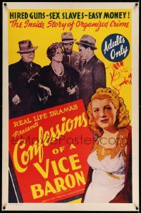 6s048 CONFESSIONS OF A VICE BARON linen 1sh '43 stone litho art, hired guns, sex slaves & easy money