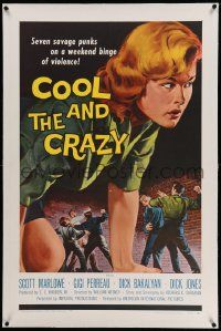 6s049 COOL & THE CRAZY linen 1sh '58 savage punks on a weekend binge of violence, classic '50s art!