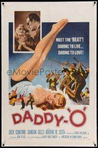 6s055 DADDY-O linen 1sh '59 great art of sexy girl beatnik & band, daring to live, daring to love!