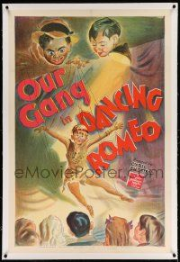 6s056 DANCING ROMEO linen 1sh '44 stone litho of Buckwheat & marionette Froggy, last Our Gang ever!