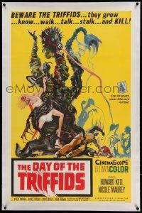 6s059 DAY OF THE TRIFFIDS linen 1sh '62 classic English sci-fi horror, art of plant monster w/girl!