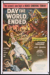 6s060 DAY THE WORLD ENDED linen 1sh '56 Roger Corman, great art of sexy Lori Nelson & wacky monster!