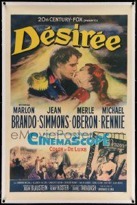 6s062 DESIREE linen 1sh '54 great artwork of Marlon Brando & pretty Jean Simmons about to kiss!