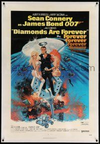 6s064 DIAMONDS ARE FOREVER linen 1sh '71 art of Sean Connery as James Bond 007 by Robert McGinnis!