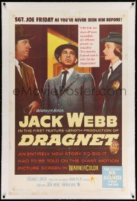 6s069 DRAGNET linen 1sh '54 Jack Webb as detective Joe Friday as you've never seen him before!