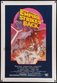 6s076 EMPIRE STRIKES BACK linen studio style 1sh R82 George Lucas classic, montage art by Tom Jung!