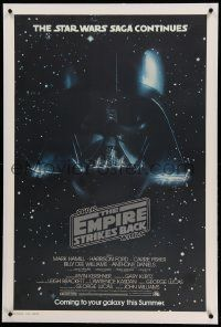 6s077 EMPIRE STRIKES BACK linen studio style advance 1sh '80 Darth Vader helmet and mask in space!