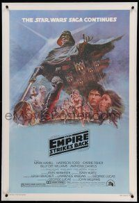 6s078 EMPIRE STRIKES BACK linen style B 1sh '80 George Lucas sci-fi classic, art by Tom Jung!