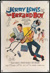 6s079 ERRAND BOY linen 1sh '62 screwball Jerry Lewis fractures Hollywood w/a million howls!