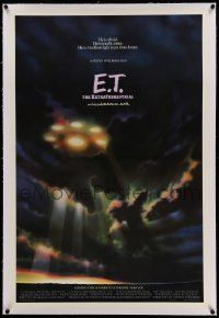 6s072 E.T. THE EXTRA TERRESTRIAL linen advance 1sh '82 different spaceship in clouds art by Alvin!