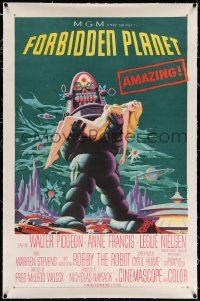 6s087 FORBIDDEN PLANET linen 1sh '56 most classic art of Robby the Robot carrying sexy Anne Francis!