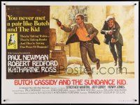 6t305 BUTCH CASSIDY & THE SUNDANCE KID linen British quad '69 Beauvais art of Newman & Redford!