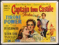 6t306 CAPTAIN FROM CASTILE linen British quad '47 great stone litho of Tyrone Power & Jean Peters!