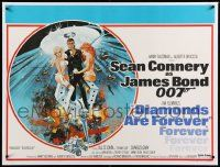 6t308 DIAMONDS ARE FOREVER linen British quad '71 McGinnis art of Sean Connery as James Bond 007!