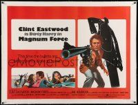 6t314 MAGNUM FORCE linen British quad '74 Clint Eastwood, Dirty Harry's bullets hit close to home!