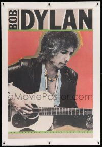 6t070 BOB DYLAN linen 29x44 music poster '80 great close portrait of the legendary singer w/guitar!