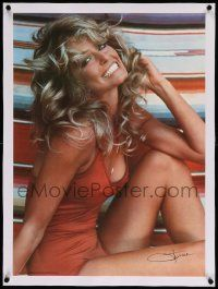6t122 FARRAH FAWCETT linen 20x28 commercial poster '76 classic c/u of the sexy star in red swimsuit!