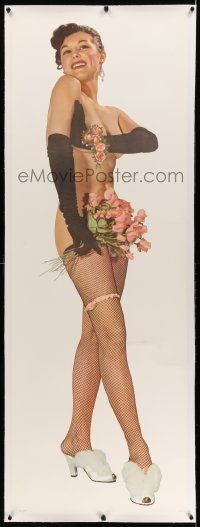 6t067 JOANNE ARNOLD linen 22x62 commercial poster '50s the sexy naked Playboy Playmate w/ fishnets!