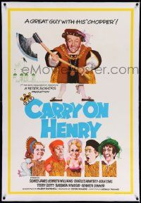 6t320 CARRY ON HENRY VIII linen English 1sh '71 wacky historic comedy, art by Pulford & Fratini!