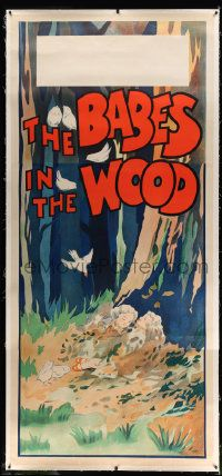 6t058 BABES IN THE WOOD linen stage play English 3sh '30s stone litho of lost kids laying in leaves!