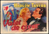 6t149 PERSONAL PROPERTY linen French 2p '38 Soubie art of Jean Harlow, Taylor & playing card, rare!
