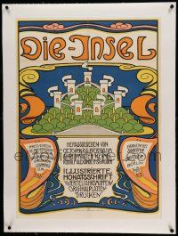 6t131 DIE-INSEL linen German 23x33 poster '50s great art by Weiss for turn of the century magazine!