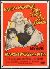 6t281 SOME LIKE IT HOT linen German '59 sexy Marilyn Monroe with Tony Curtis & Jack Lemmon in drag!