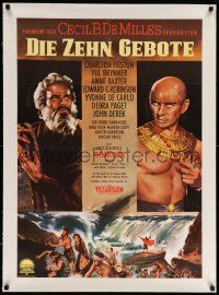 6t282 TEN COMMANDMENTS linen German R63 directed by Cecil B. DeMille, Charlton Heston, Yul Brynner!