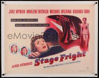 6t043 STAGE FRIGHT linen 1/2sh '50 Marlene Dietrich, Jane Wyman, directed by Alfred Hitchcock!