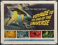 6t046 VOYAGE TO THE END OF THE UNIVERSE linen 1/2sh '64 Ikarie XB 1, Polish/Czech sci-fi, cool art!