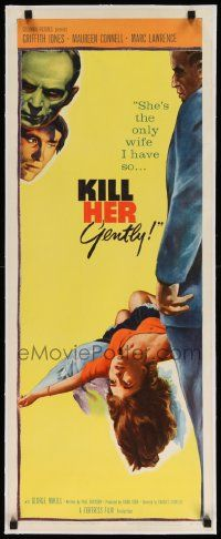 6t049 KILL HER GENTLY linen insert '58 English murder thriller, she's the only wife I have!