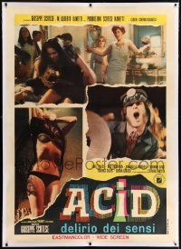 6t144 ACID linen Italian 1p '68 great photo montage of crazed LSD drug users at wild parties!