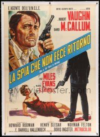 6t147 ONE OF OUR SPIES IS MISSING linen Italian 1p '66 Man from UNCLE, art of Vaughn by DiStefano!